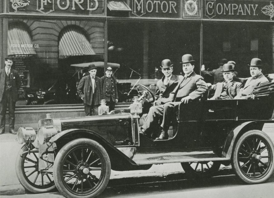 Henry Ford, James Couzens, Elwood Rice and Gaston Plantiff in Ford Model K Car, 1907. (credit KPBS San Diego)